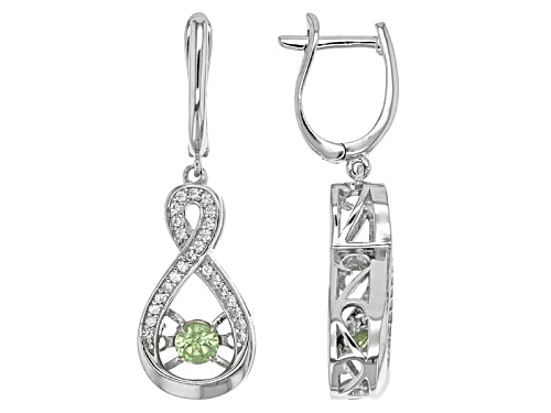Photo of .53ctw Dancing Round Lab Created Alexandrite And .33ctw Round White Zircon Sterling Silver Earrings