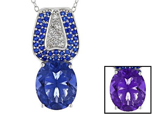 Photo of 4.00ct Color Change Blue Fluorite, .51ctw Lab Blue Spinel, And .15ctw Zircon Silver Pendant W/Chain