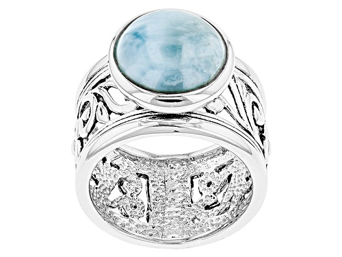 Photo of 11.5mm Round Cabochon Larimar Sterling Silver Solitaire Ring - Size 7