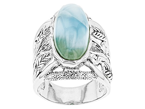 Photo of 21x9mm Oval Cabochon Larimar Sterling Silver Solitaire Ring - Size 5