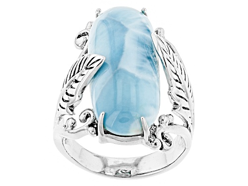 Photo of 25.0x9.5mm Oval Cabochon Larimar Sterling Silver Solitaire Ring - Size 5