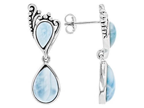 Photo of 12x8mm And 8x5mm Pear Shape Cabochon Larimar Sterling Silver 2-Stone Dangle Earrings