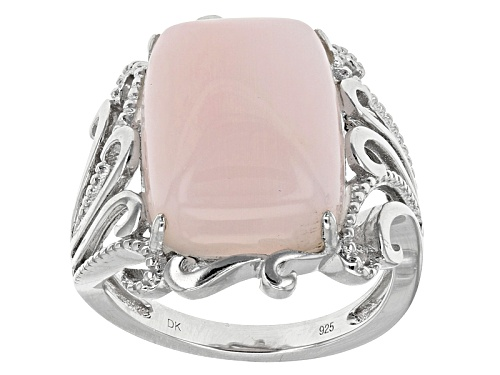 Photo of 16x12mm Rectangular Cushion Peruvian Pink Opal Sterling Silver Ring - Size 6