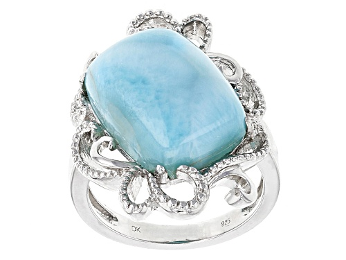 Photo of 16x12mm Cabochon Rectangular Cushion Larimar Sterling Silver Ring - Size 6