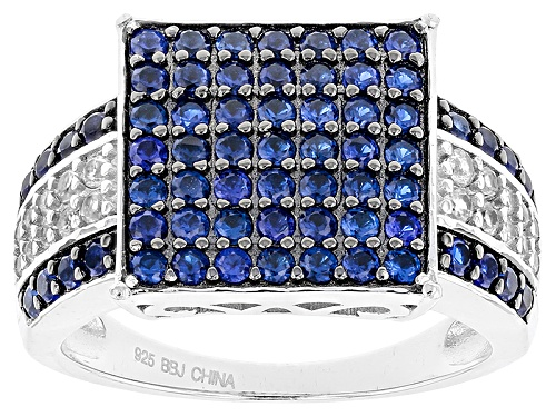 Photo of 1.02ctw Round Lab Created Blue Spinel With .29ctw Round White Zircon Sterling Silver Ring - Size 5