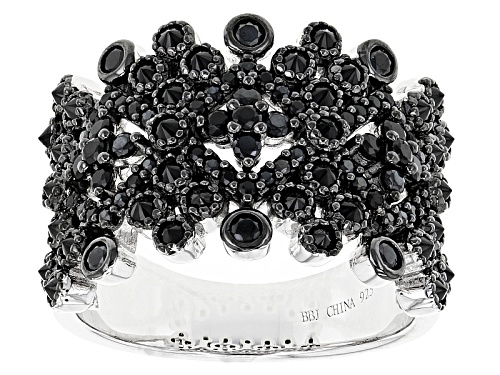 Photo of 1.24ctw Mixed Round Black Spinel Sterling Silver Band Ring - Size 5