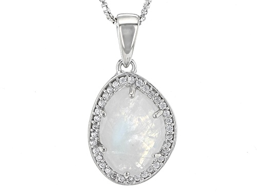 Photo of 14x10mm Fancy Cut Rainbow Moonstone And .34ctw Round White Zircon Sterling Silver Pendant With Chain