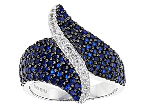 Photo of 1.80ctw Round Lab Created Blue Spinel And .19ctw Round White Topaz Sterling Silver Ring - Size 5