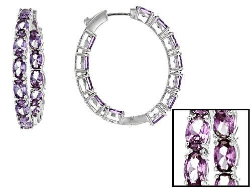 Photo of 12.43ctw Lab Created Color Change Purple Sapphire Rhodium Over Silver Inside/Outside Hoop Earrings