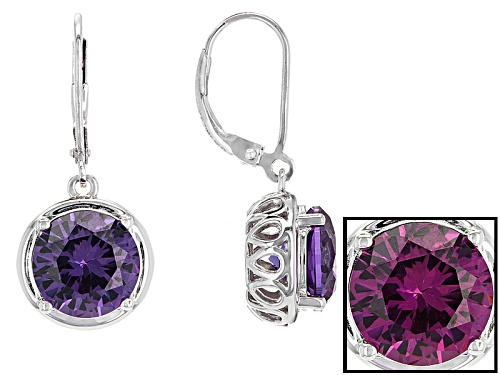 Photo of 5.79ctw Purple Lab Created Color Change Sapphire Solitaire Rhodium Over Silver Dangle Earrings