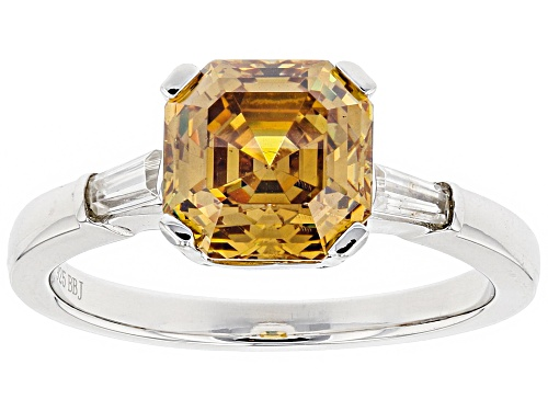 Photo of 3.32ct Asscher Cut Champagne Fabulite Strontium Titanate And .25ctw White Zircon Silver Ring - Size 12