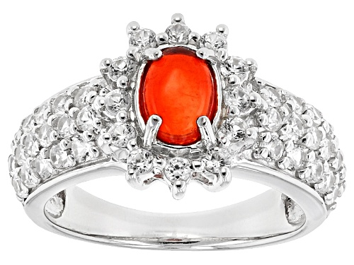 Photo of .41ct Oval Cabochon Orange Ethiopian Opal With 1.35ctw Round White Zircon Sterling Silver Ring - Size 10