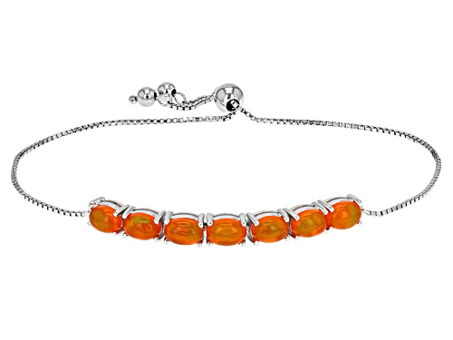 "Photo of 2.96ctw Oval Orange Ethiopian Opal Silver Sliding Adjusts Approximately 6"" To 9"" Length Bracelet - Size 7.25"