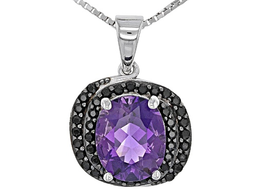 Photo of 1.90ct Oval African Amethyst And .30ctw Round Black Spinel Sterling Silver Pendant With Chain