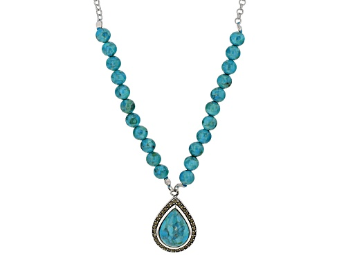 Photo of 12x16mm Pear Shape And 6mm Round Turquoise With Round Marcasite Sterling Silver Teardrop Necklace - Size 18