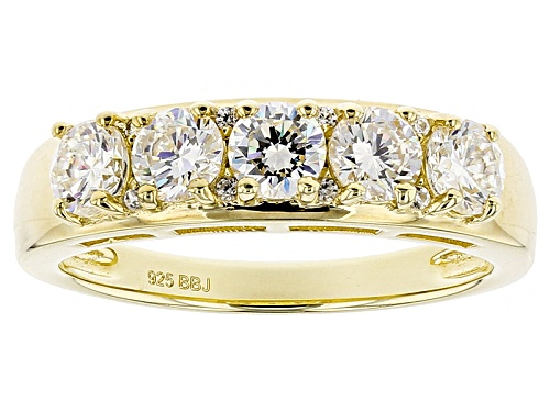 Photo of 1.78ctw Round Lab Created Strontium Titanate And .04ctw White Zircon 18k Gold Over Silver Band Ring - Size 9