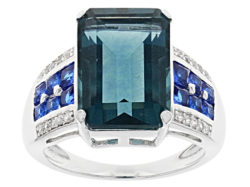 Photo of 8.50ct Teal Fluorite With .76ctw Lab Created Blue Spinel And .14ctw White Zircon Silver Ring - Size 7