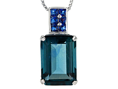 Photo of 8.50ct Emerald Cut Teal Fluorite And .29ctw Square Lab Created Blue Spinel Silver Pendant With Chain