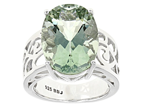 Photo of 9.59ct Oval Brazilian Prasiolite Sterling Silver Solitaire Ring - Size 7