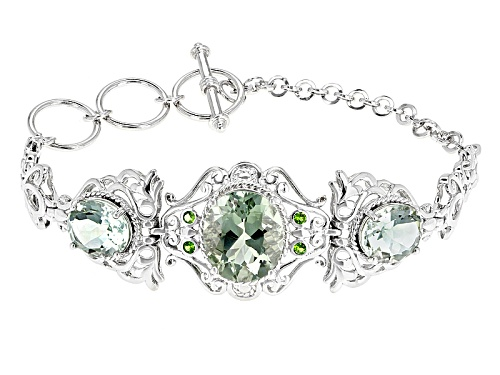Photo of 11.86ctw Green Prasiolite And Russian Chrome Diopside Rhodium Over Sterling Silver 3-Stone Bracelet - Size 7.25