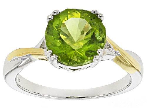 Photo of 2.80ct Round Manchurian Peridot™ Two-Tone Sterling Silver Solitaire Ring - Size 11