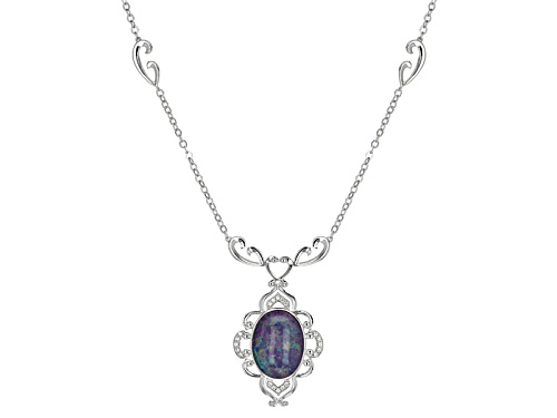 Photo of 16x12mm Oval Coober Pedy Opal Triplet And .12ctw Round White Zircon Sterling Silver Necklace - Size 18