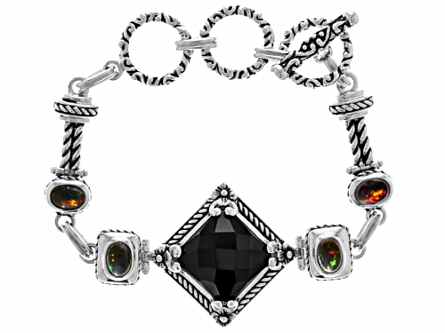 Photo of 1.80ctw Oval Cabochon Black Ethiopian Opal And 15mm Square Cushion Black Onyx Silver Bracelet - Size 8