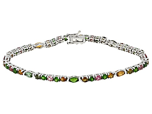 4.77ctw Round And Marquise Multi-Tourmaline Sterling Silver Bracelet - Size 8