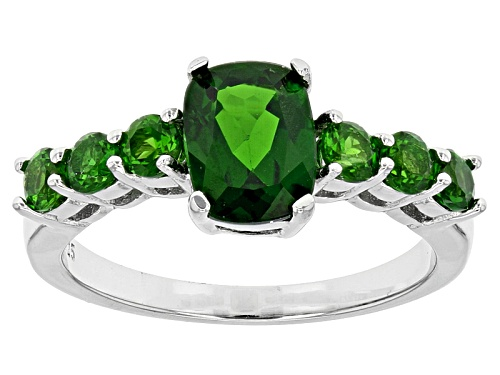 Photo of 1.75ctw Rectangular Cushion And Round Russian Chrome Diopside Sterling Silver Ring - Size 11