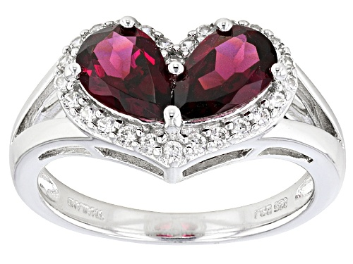 Photo of 1.73ctw Pear Shape raspberry color Rhodolite And .19ctw Round White Zircon Sterling Silver Ring - Size 11