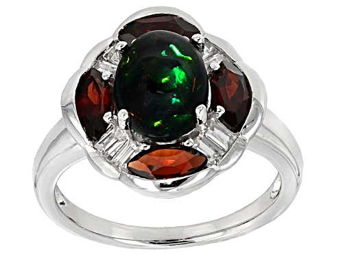 Photo of 1.00ct Black Ethiopian Opal With 1.20ctw Vermelho Garnet™ And .48ctw White Zircon Silver Ring - Size 11