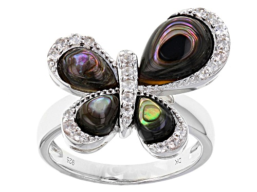 Photo of Pear Shape Abalone Shell And .29ctw Round White Zircon Sterling Silver Butterfly Ring - Size 8