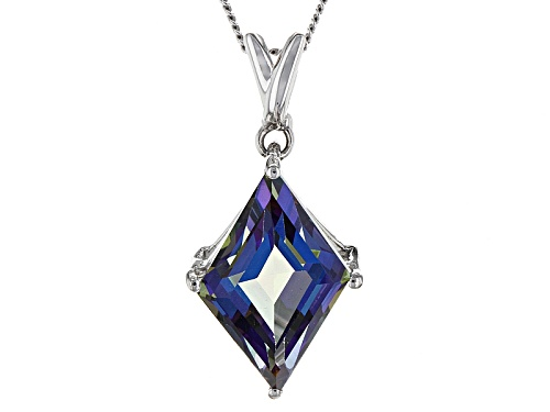 Photo of 3.75ct Lozenge Shape Odyssey Blue™ Quartz Solitaire Sterling Silver Pendant With Chain
