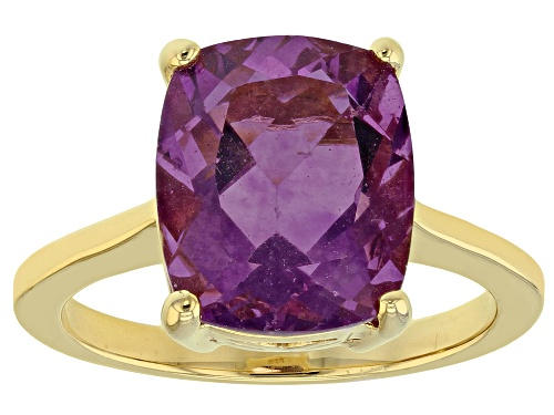 Photo of 5.52ct Rectangular Cushion Purple Fluorite 18k Yellow Gold Over Sterling Silver Solitaire Ring - Size 8