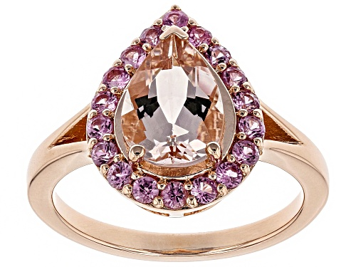 Photo of 1.53ct Morganite With .45ctw Pink Sapphire 18k Rose Gold Over Sterling Silver Ring - Size 9