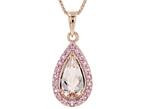 Photo of 1.27ct Morganite With .51ctw Pink Sapphire 18k Rose Gold Over Sterling Silver Pendant With Chain