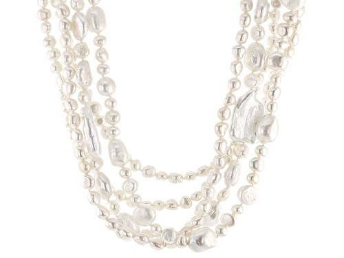 Photo of 5-30mm White Cultured Freshwater Pearl Rhodium Over Sterling Silver 20 Inch Multi-Strand Necklace - Size 20