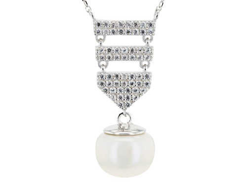 Photo of 12mm White Cultured Freshwater Pearl With 0.448ctw White Zircon Rhodium Over Silver 18 Inch Necklace - Size 18