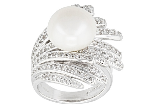 Photo of 12.5mm White Cultured Freshwater Pearl With 1.67ctw White Zircon Rhodium Over Silver Ring - Size 11