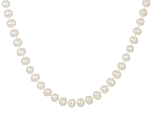 Photo of 8.5-9mm White Cultured Freshwater Pearl Rhodium Over Silver Strand Necklace - Size 32