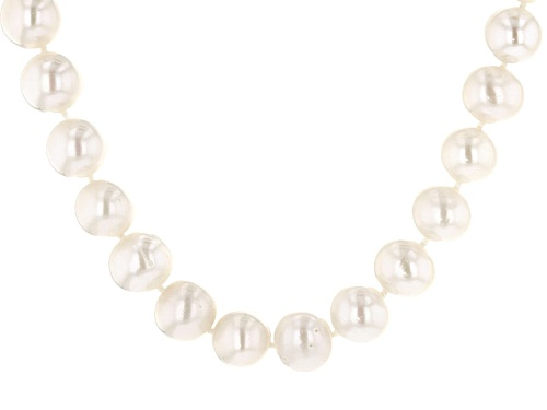Photo of 10-11mm White Cultured Freshwater Pearl Rhodium Over Sterling Silver 18 Inch Strand Necklace - Size 18