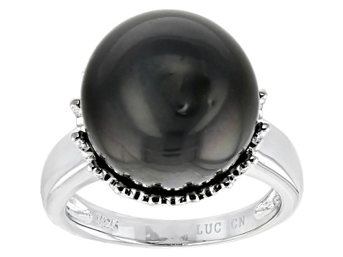 Photo of 14-15mm Round Cultured Tahitian Pearl Rhodium Over Sterling Silver Solitaire Ring - Size 12