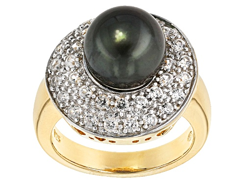 9-9.5mm Cultured Tahitian Pearl With 1.19ctw White Zircon 18k Yellow Gold Over Sterling Silver Ring - Size 12