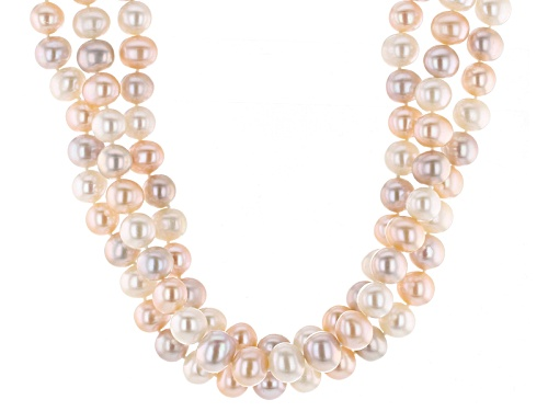 """Photo of 9-10mm Multi-Color Cultured Freshwater Pearl Rhodium Over Silver Adjustable 18"""" Necklace - Size 18"""
