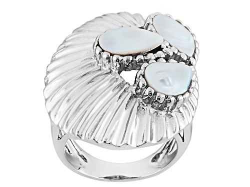 Photo of 6-8mm White Cultured Freshwater Pearl Rhodium Over Sterling Silver Ring - Size 6