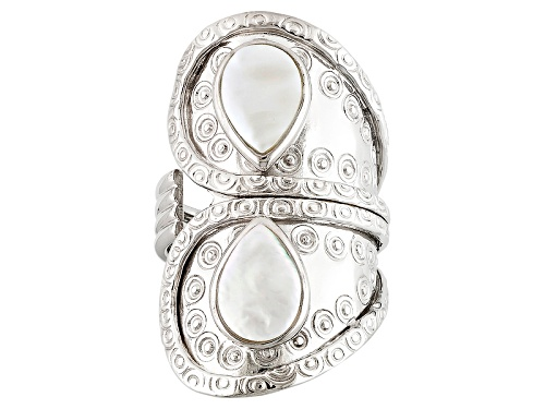 Photo of 7-9mm White Cultured Freshwater Pearl Rhodium Over Sterling Silver Ring - Size 5