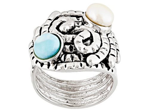 Photo of 6-6.5mm White Cultured Freshwater Pearl With 0.95ctw Larimar Rhodium Over Sterling Silver Ring - Size 6