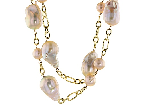 Photo of 10-16mm Peach Cultured Freshwater Pearl 18k Yellow Gold Over Silver 32 Inch Station Necklace - Size 32