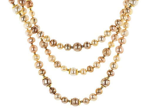"Photo of 7-11mm Multi-Color Cultured Freshwater Pearl 18k Yellow Gold Over Silver 18"" Multi-Strand Necklace - Size 18"