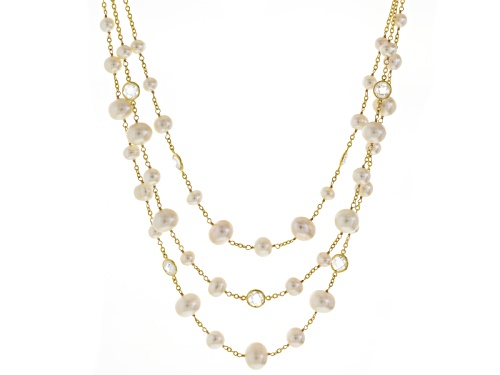 Photo of 7-12mm Cultured Freshwater Pearl & Faceted Crystal 18k Yellow Gold Over Silver Adjustable Necklace - Size 18